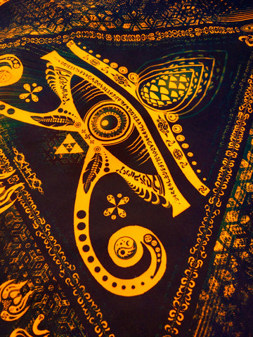 "Fluro Neon Lycra Tapestry of ""Singular Sight"" - UV Active! Orange"