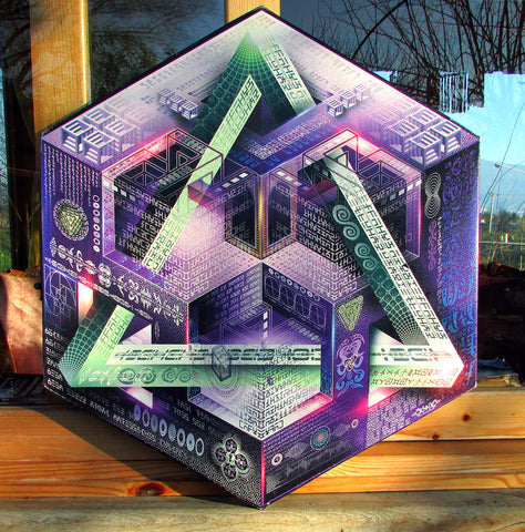 "Hexagonal Stretched Canvas Print of ""Translinguistic Equation"" - Limited Edition"