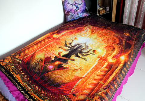 "Fleece Blanket of ""Temple of Scintillating Sights"" - Cozy & Lightweight"