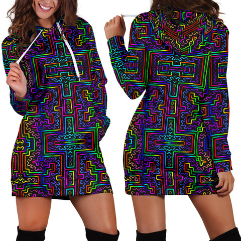Prismatic Overlay Women's Hoodie Dress