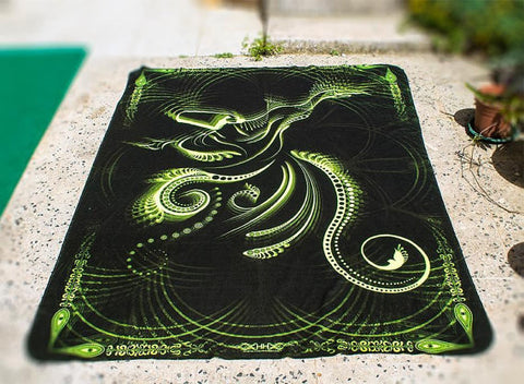 "Fluro Neon Fleece Blanket of ""Sufi"" - UV Active!"