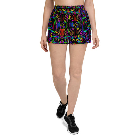 Prismatic Overlay Women's Athletic Short Shorts
