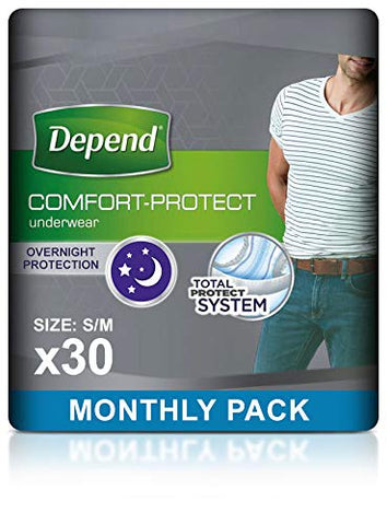 Depend Comfort Protect Incontinence Pants for Men, Small/Medium - 30 Pants 3 Packs