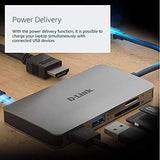 D-Link DUB-M520 5-in-1 USB-C Hub with Power Delivery, HDMI 1.4, Gigabit Ethernet RJ-45 and 2 USB 3.0 Ports for MacBook Pro 2016 or Later, MacBook Air 2018, Chromebook and Surface Pro 7 5-in-1 Ethernet
