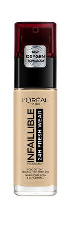 L'Oreal Paris Infallible 24hr Freshwear Liquid Foundation 100 Linen, Hydrating, Weightless Feel, Transfer-Proof and Waterproof, Full Coverage Base, Available in 26 Shades, SPF 25