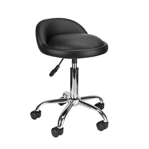 Display4top Black Adjustable Swivel Rolling Cushion Tattoo Massage Hydraulic Salon Stool with Back,5 Wheels