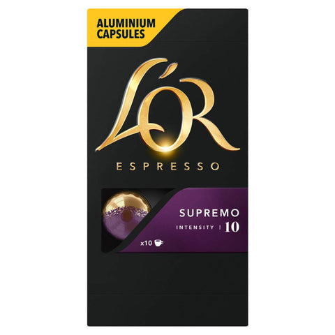 L'Or Espresso Coffee Supremo Coffee - Intensity 10 - 100 Aluminium Capsules Compatible with Nespresso Machines (10x10 Pods Pack) L'OR Supremo