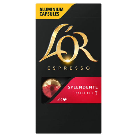 L'OR Espresso Splendente Intensity 7 - Nespresso* Compatible Coffee Capsules (Pack of 10, 100 Capsules in Total) L'OR Splendente