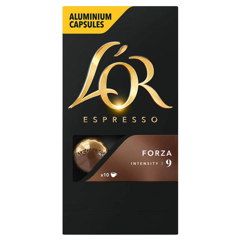 L'OR Espresso Forza Intensity 9 - Nespresso* Compatible Coffee Capsules (Pack of 10, 100 Capsules in Total) L'OR Forza
