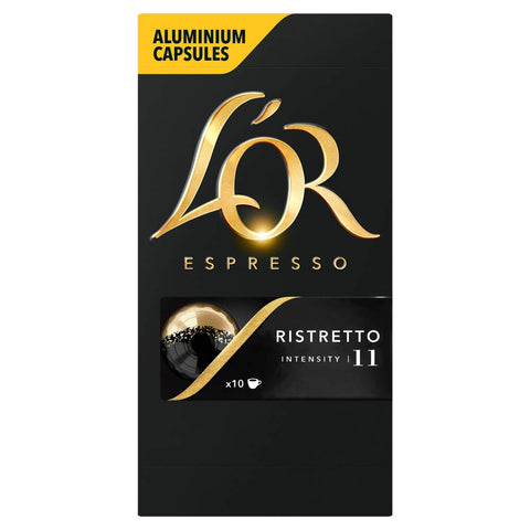 L'OR Espresso Ristretto Intensity 11 - Nespresso* Compatible Coffee Capsules (Pack of 10, 100 Capsules in Total) L'OR Ristretto