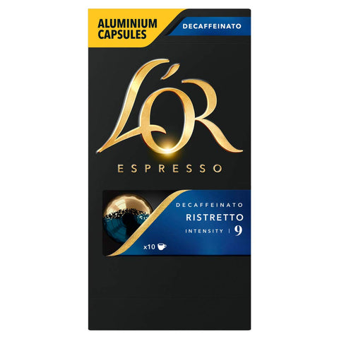 L'OR Espresso Ristretto Decaffeinated - Intensity 8 - Nespresso* Compatible Aluminium Coffee Capsules (Pack of 10, 100 Capsules in Total) L'OR Ristretto Decaff