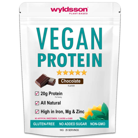 Vegan Protein Powder (1kg) with Vital Minerals | High in Iron | with Organic Plant Protein | Gluten Free (Chocolate) Chocolate