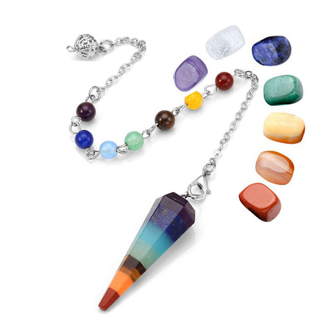 JSDDE 7 Chakra Reiki Healing Dowsing Crystal Pendulum Hexagon Point Stones Pendant and Healing Crystal Tumbled Palm Gemstone Meditation Jewelry Sets