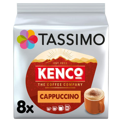 Tassimo Kenco Cappuccino Coffee and Milk Pods (Pack of 5, Total 80 pods, 40 servings)