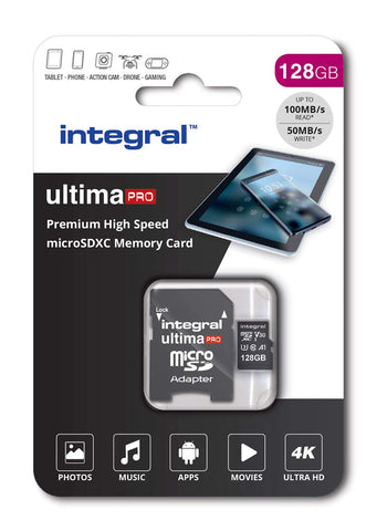 Integral 128GB micro SD card 4K video Premium High Speed memory card microSDXC Up to 100MB/s V30 UHS-I U3 A1 C10 128 GB