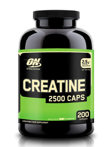 Optimum Nutrition Creatine 2500 mg Capsules, Unflavoured Creatine Monohydrate Tablets for Muscle Growth, 100 Servings, 200 Capsules