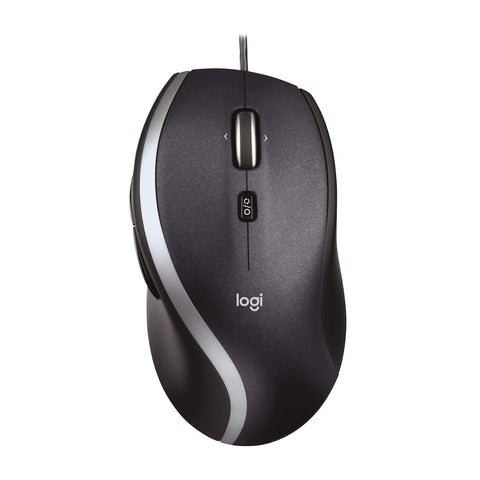 Logitech M500 Wired USB Mouse, High Precision 1000 DPI Laser Tracking, 7 Buttons, PC / Mac / Laptop - Black Fast Scrolling Mouse - M500