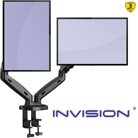 "Invision Dual Monitor Arm Mount – Ergonomic Height Assisted (Gas Powered) Full Motion Dual Arm Desktop Clamp PC Mount for 17–27"" Screens Adjustable Tilt Swivel VESA 75mm & 100mm Weight 2-6.5kg (MX300)"
