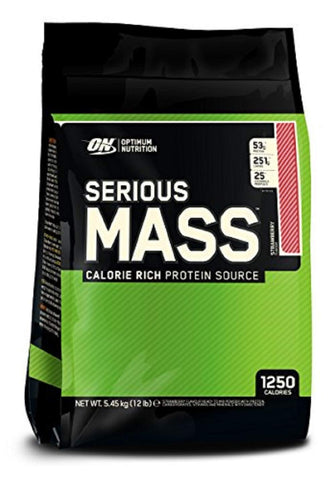Optimum Nutrition ON Serious Mass High Calorie Mass Gainer Protein Powder with Vitamins, Creatine and Glutamine, Strawberry, 16 Servings, 5.45 kg 12 Pound - 4.45 Kg