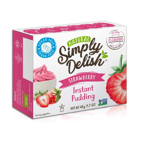 Simply Delish, Natural Pudding, and Pie Filling - Fat and Gluten Free, Vegan Sweet, Strawberry Flavour - Pack of 6, Sugar Free Pudding