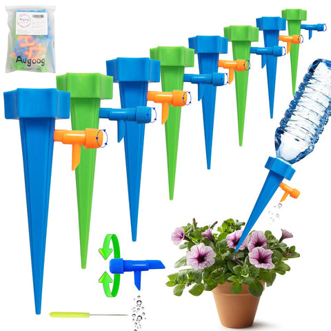 18 Pcs Plant Waterer, Self Watering Spike Slow Release Vacation Plants Watering System, Automatic Watering Devices with Control Valve Switch for Outdoor Indoor Plants Tree