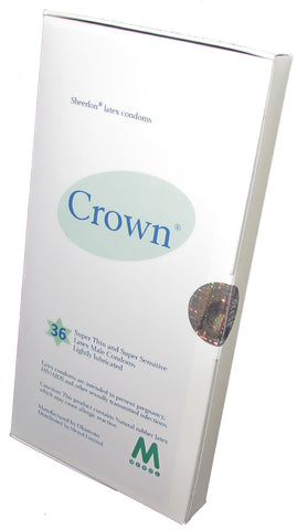 Crown Skinless Skin Condoms - The Thinnest Latex Condoms (Box of 36 pieces) /Fulfilled by Seller/ Box of 36 pieces