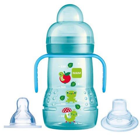MAM Trainer+ 220ml, Baby Cup Suitable from 4+ Months, Trainer Cup for Independent Drinking, Spill-Free Toddler Cup, Blue (Designs May Vary)