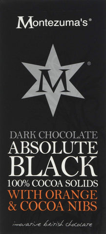 Montezuma's Absolute Black 100 Percent Cocoa Nibs and Orange Bar, 100 g, Pack of 6
