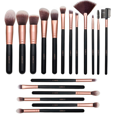 Makeup Brushes Lospu HY Makeup Brushes Sets 18-Piece Rose Golden Make-up Brush Sets Premium Synthetic Wood Handle Face and Eye Brushes for Foundation, Powder, Concealers, Blush, and Eyeshadow