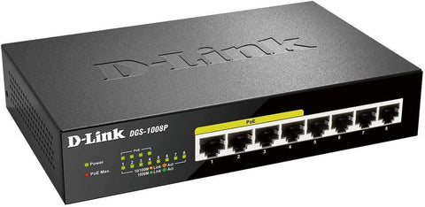 D-Link DGS-1008P/E 8-Port Gigabit Unmanaged Metal Switch with 4 PoE+ Port - Up to 30 W per Port with 68 W PoE Budget 8-Port - PoE+ 68W Unmanaged Gigabit Ethernet