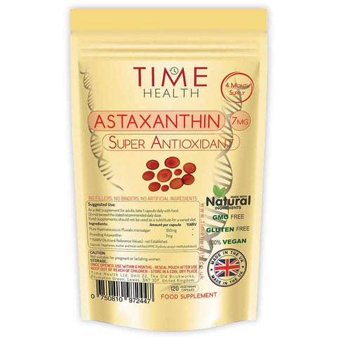 Astaxanthin - 7mg Optimal Dose - 120 Capsules - Super Antioxidant - Haematococcus Pluvialis - 100% Pure Natural Bioavailable 4 Month Supply - UK Manufactured - Zero Additives 120 Capsule Pouch