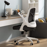Hbada Office Chair Desk Chair Flip-up Armrest Ergonomic Task Chair Compact 120° Locking 360° Rotation Seat Surface Lift Reinforced Nylon Resin Base, White