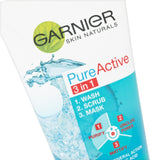 Garnier Pure Active 3-in-1 Clay Wash Scrub Mask for Oily Skin Prone to Imperfections, Purifiying and Mattifying Cleanser to Unclog Pores 150 ml 3in1 Clay Mask Scrub