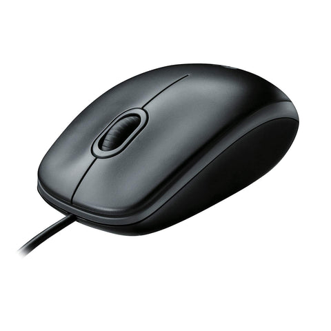 Logitech B100 Wired USB Mouse, 3-Buttons, Optical Tracking, Ambidextrous PC / Mac / Laptop - Black Corded Mouse B100
