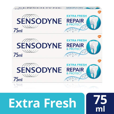 Sensodyne Sensitive Repair and Protect Extra Fresh Toothpaste, 75 ml, Pack of 3 Repair & Protect Extra Fresh