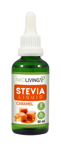 NKD Living Stevia Liquid Drops 50ml (New Label Design) - Caramel flavoured - with glass dropper