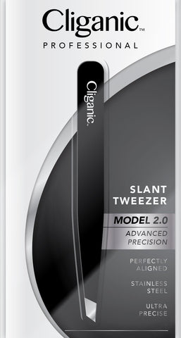 Professional Eyebrow Tweezers Precision Slant Tip 2.0 Black (Improved Model) | Hair Tweezer for Men & Women, Stainless Steel | Best for Plucking Chin Facial Hair | Cliganic 90 Days Warranty