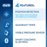 Oral-B Genius 9000 CrossAction Electric Toothbrush, 1 Midnight Black App Connected Handle, 6 Modes with Sensitive and Gum Care, Pressure Sensor, 4 Toothbrush Heads, USB Travel Case, 2 Pin UK Plug Single Pack