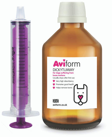 Aviform Dickytummy Dog Diarrhoea Suspension - 250ml, Fast Acting Control for Loose Stools - Helps Remove Toxins to Restore Your Dogs Digestive health