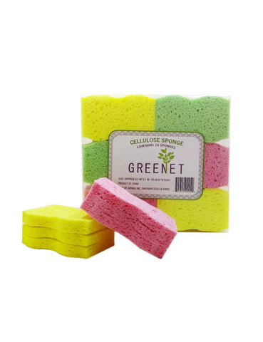 Greenet Cellulose Cleaning Sponges – Pack of 24 100% Natural Kitchen Scrub Sponges + 2 Heavy Duty Scouring Pads - Super Durable, Reusable & Biodegradable, 4.1 x 2.7 x 0.58 Inches …