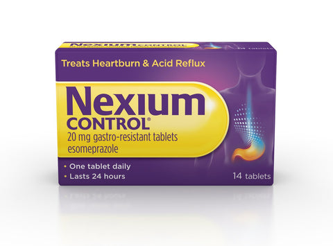Nexium Control (14 Count) Heartburn and Acid Reflux Relief Tablets, 20mg Gastro-Resistant Esomeprazole Tablets 14 tablets