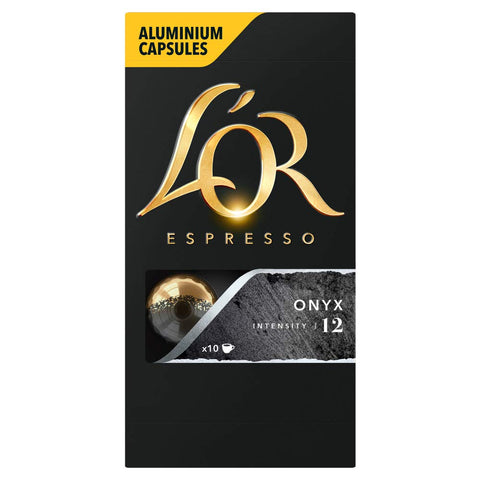 L'OR Espresso Onyx - Intensity 12 - Nespresso* Compatible Aluminium Coffee Capsules (Pack of 10, 100 Capsules in Total) L'OR Onyx