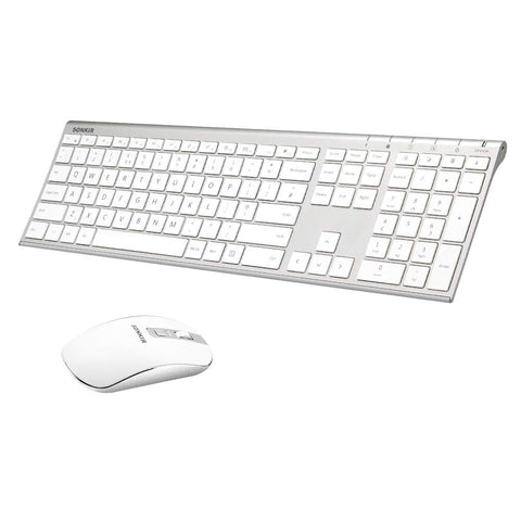 Wireless Keyboard and Mouse, Sonkir K-18 2.4GHz Ultra Thin Rechargeable Aluminum Full Size Keyboard Mouse Set for Windows, Laptop, PC, Notebook (Silver) Silver