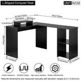 DOSLEEPS Computer Desk, L-Shaped Large Corner PC Laptop Desk Study Table Workstation Gaming Desk for Home and Office Small Space - Black Wood Grain