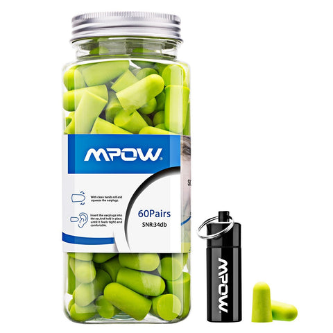Mpow HP055A 055A, 34dB SNR Soft Foam, 60 Pairs EarPlugs with Aluminum Carry Case, Noise Reduction Sponge Ear Plugs for Hearing Protection, Sleeping, Working, Shooting, Travel-Green, Bright Bright Green