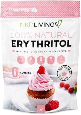 Powdered Erythritol by NKD Living - Zero Calorie Icing Sugar 1kg (2.2 lb) 1 kg