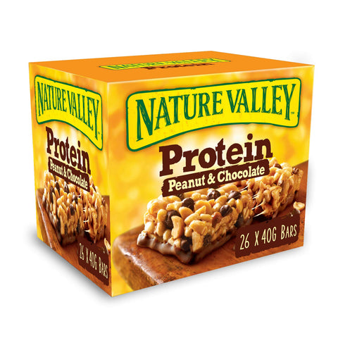 Nature Valley Protein Peanut & Chocolate Gluten Free Cereal Bars 40g (Pack of 26 Bars) Pack of 26