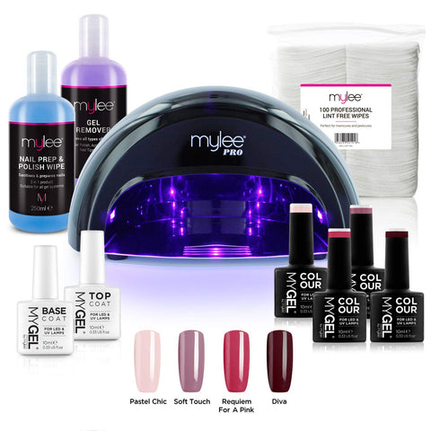 Mylee Complete Professional Gel Nail Polish LED Lamp Kit, 4x MyGEL Colours, Top & Base Coat, Mylee PRO Salon Series Convex Curing® LED Lamp, Prep & Wipe, Gel Remover and more (Kit with Black Lamp) Kit with Black Lamp