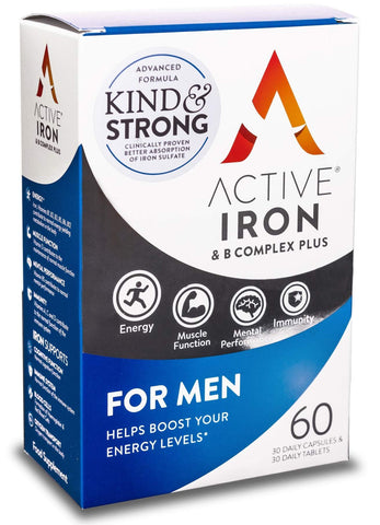 Active Iron & B-Complex Plus for Men | Iron Tablets & Vitamin B Complex | 30 Iron Pills & 30 Vitamin B Tablets | Kind & Strong Ferrous Sulphate Iron Supplement | Scientifically-Tested | 30-Day Supply