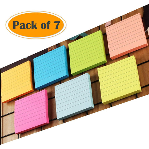 A+Selected Lined Sticky Notes Pad 3 X 3-Inches Small Square Sticky Notes Neon Coloured Assorted Sticky Notes - Pack of 7 (80 Sheets per Pad)